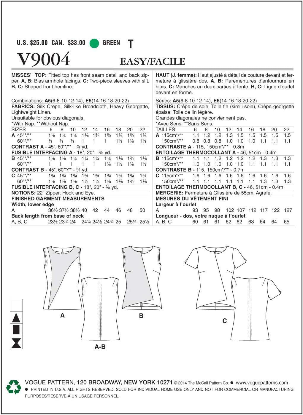 Vogue Patterns V9004 E5 Sizes 14//16// 18//20// 22 Misses Top Multi-Colour