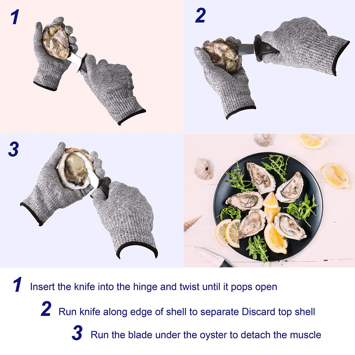 Oyster Shucking Knife Stainless Steel With High Performance Protection Food Grade Cut Resistant Gloves, Easy To Shucking Oysters (2pcs / set) by TechLeo (Image #2)