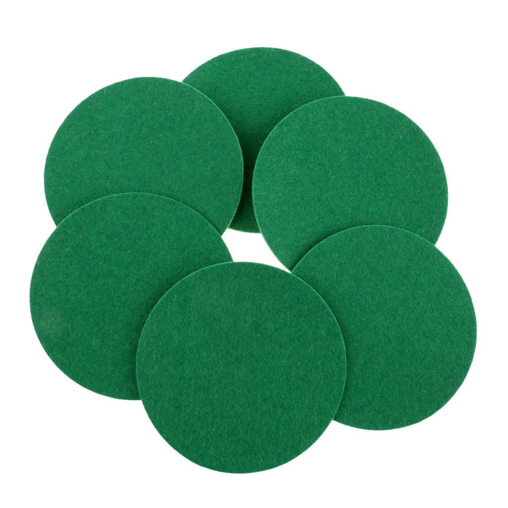 MagiDeal 6 Pieces Air Hockey Table Felt Pushers Replacement Felt Pads Green - S