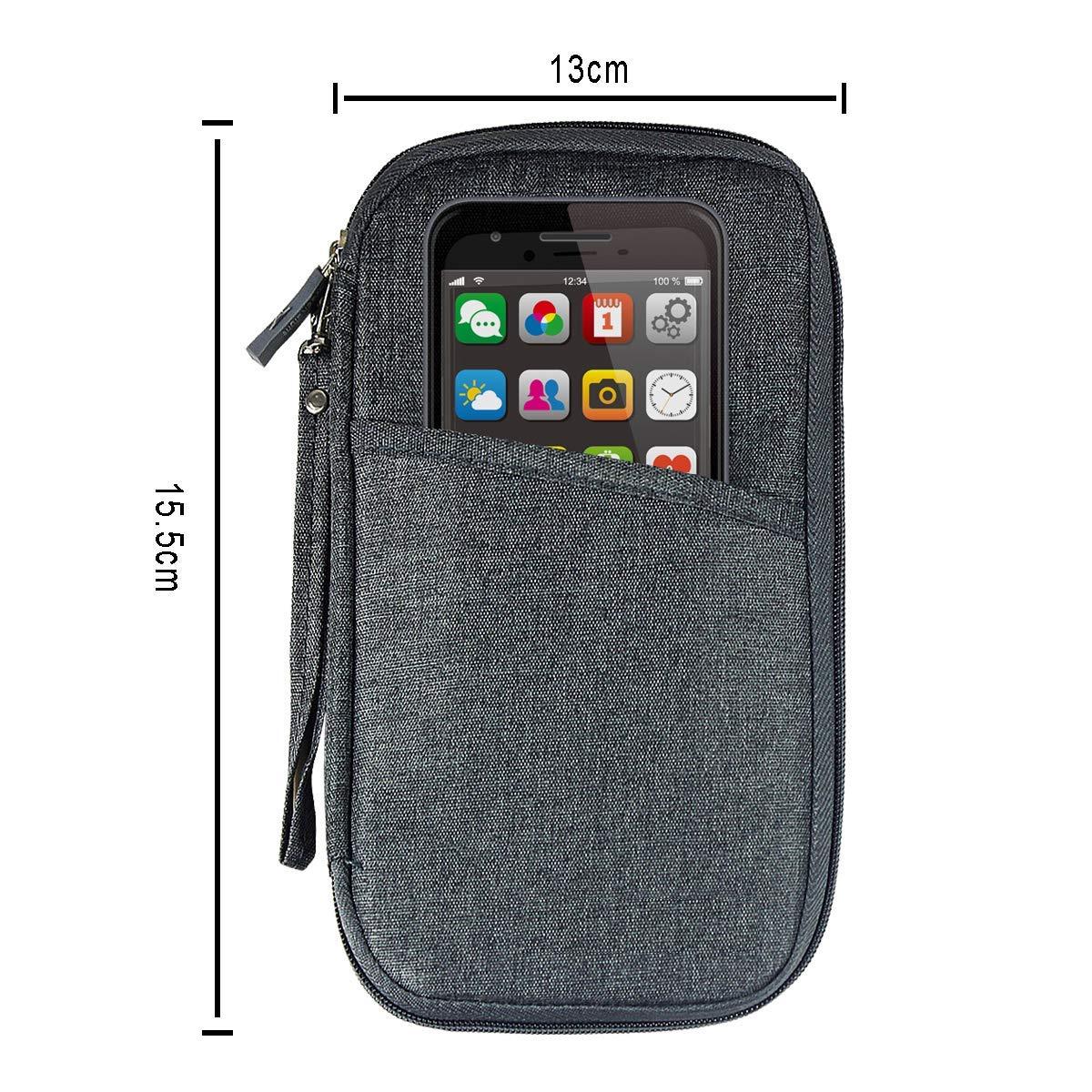 Passport Wallet Travel Passport Credit Card Holder Organizer Bag Case with Removable Wrist Strap for Men Women Dark Grey