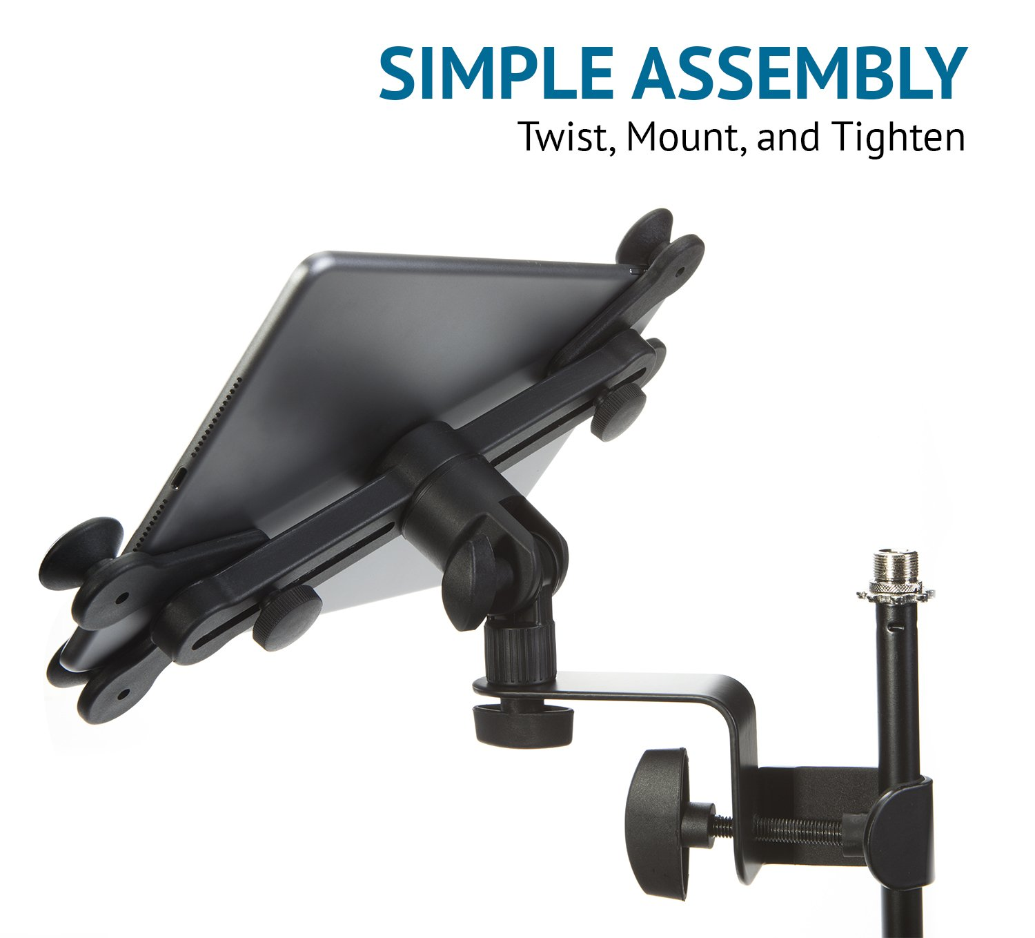 LyxPro TSM1 Microphone Music Stand Mount Holder For Tablet iPhone Ipad Smartphone And Android Adjustable 360 Degree Swivel Tilt Support Arms 3 To 11.5 Inch With Extra Detachable Clip