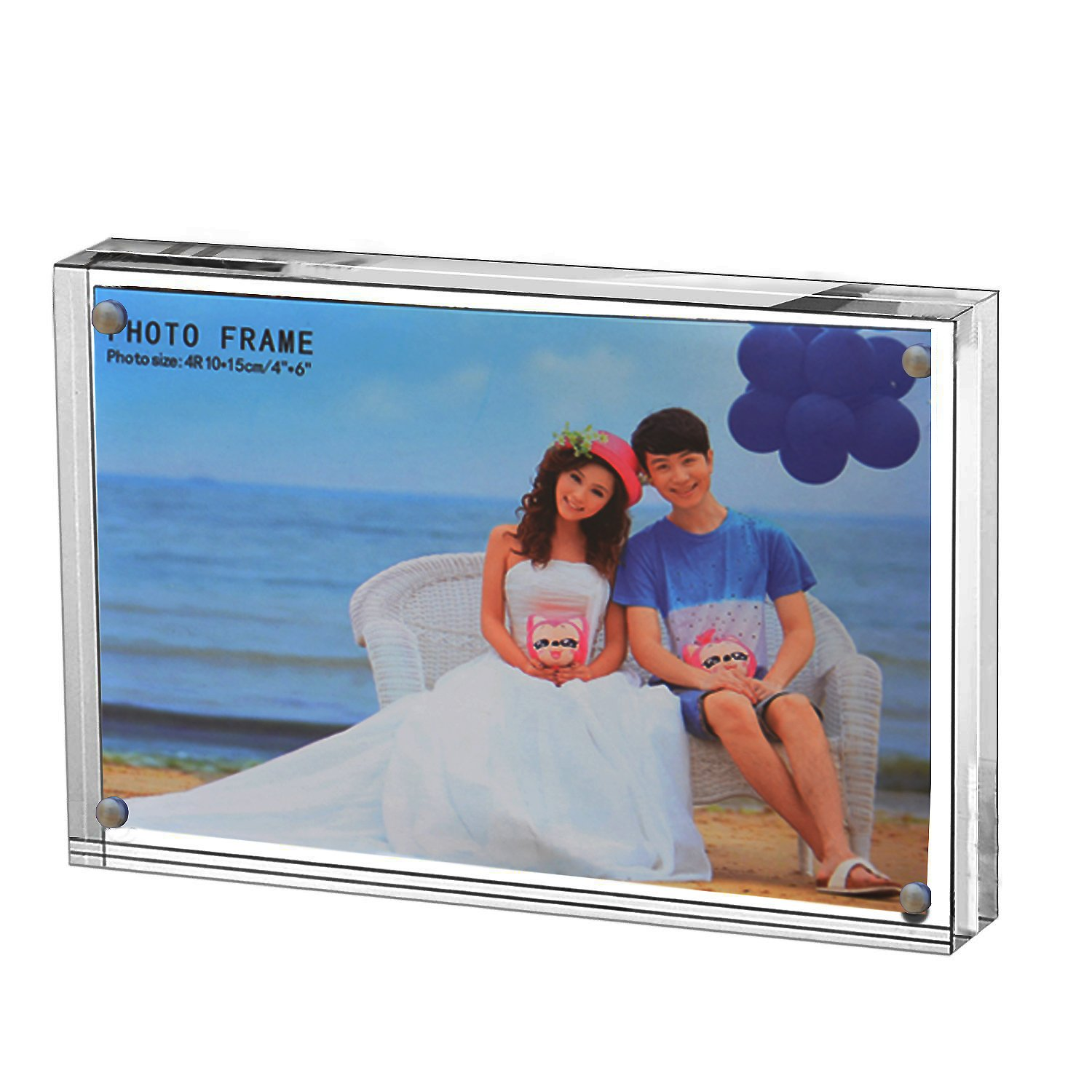 Clear Acrylic Photo Frame,Magnetic Perspex Picture Holders Table Standing Double Side Displays (2.5x3.5'') by Yakri