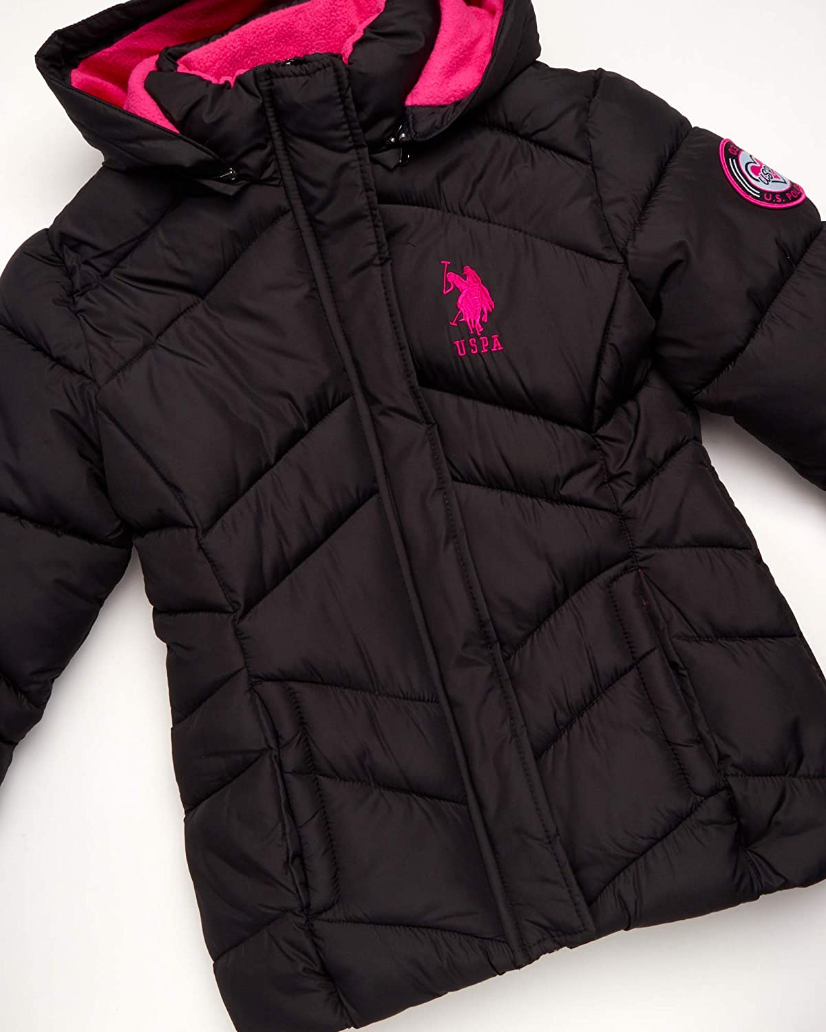 U.S Girls Puffer Bomber Jacket with Full Polar Fleece Lining and Removable Fur Trim Polo Assn