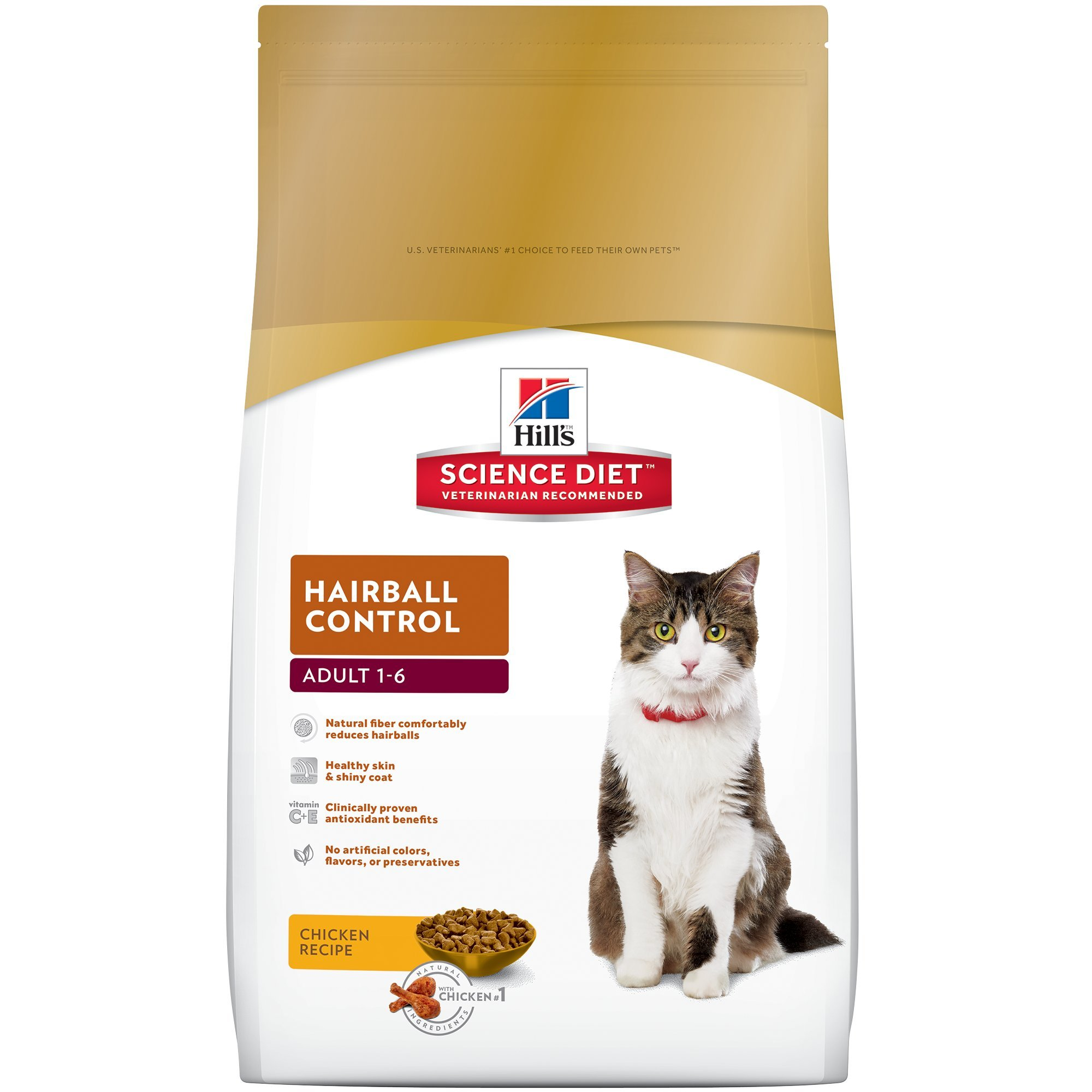Hill's Science Diet Adult Hairball Control Cat Food, Chicken Recipe Dry Cat Food, 15.5 lb Bag