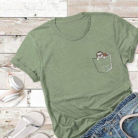 D-X Americana Creativa Simple Camiseta de Mujer Verano Algodón Manga Corta, Ejercito Verde, XXL: Amazon.es: Deportes y aire libre