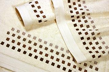 Juego de Toallas Bordadas Cuadros 3 piezas 550gr SQUARES 3P. Nº10 (Crudo): Amazon.es: Hogar