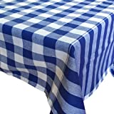 "HomeHero Gingham Checkered Tablecloth, Blue, Rectangular Linen Table cloth - Size 44""x79"""