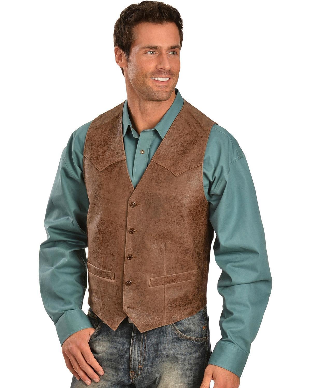 Scully Men's Western Lamb Vest Brown 38 R