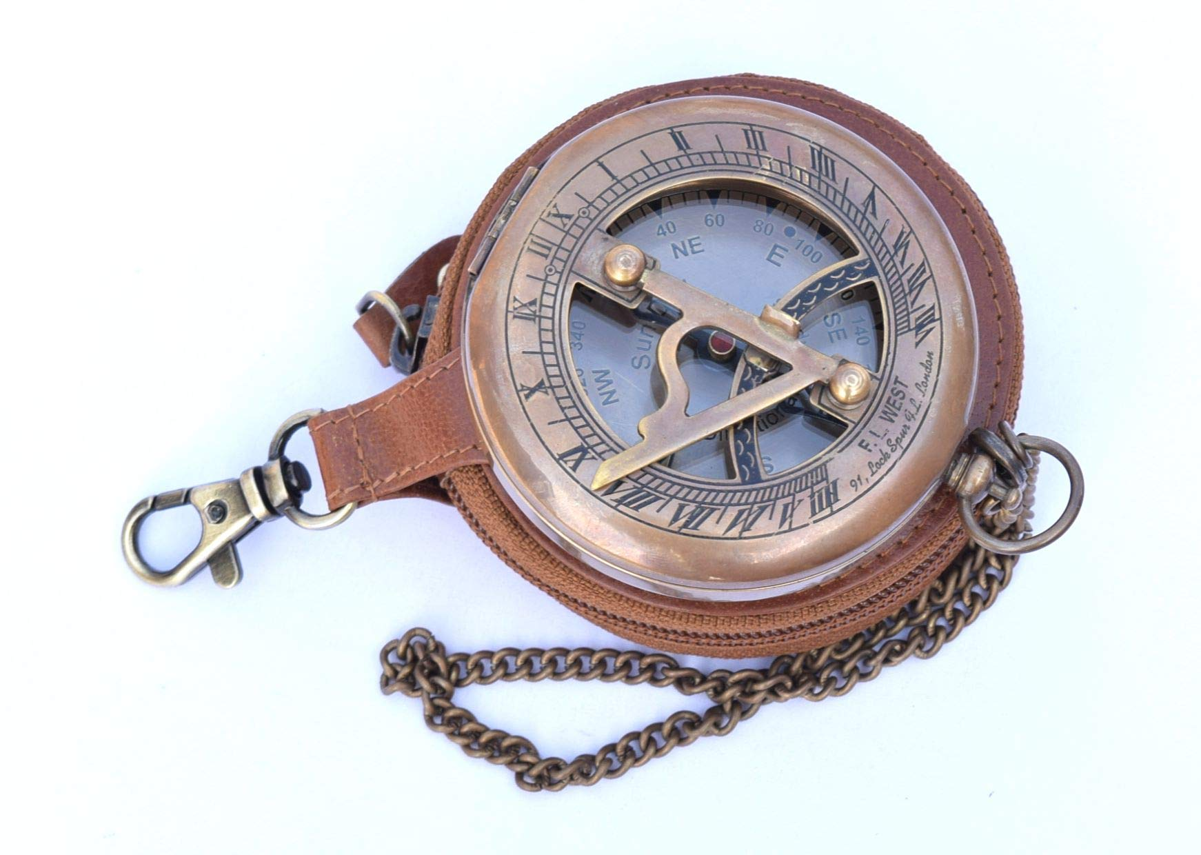 Brass Sundial Compass with Leather Case and Chain Push Open Compass