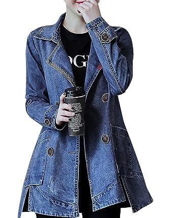 Manteau long en jean femme