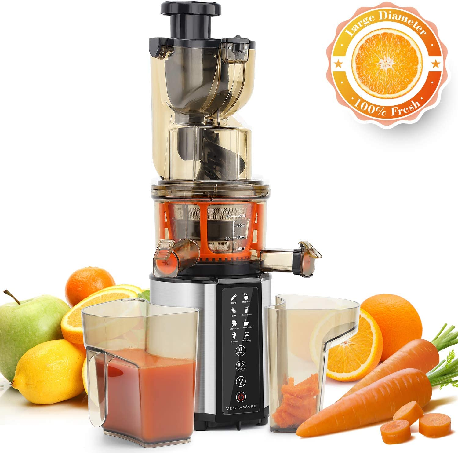 Juicer Machines, Vestaware Slow Masticating Juicer Extractor with Digital Control Panel, 3-Inch Chute Easy to Clean BPA Free Cold Press Juicer for Fruit and Vegetable, Free Juice Recipes, Silver