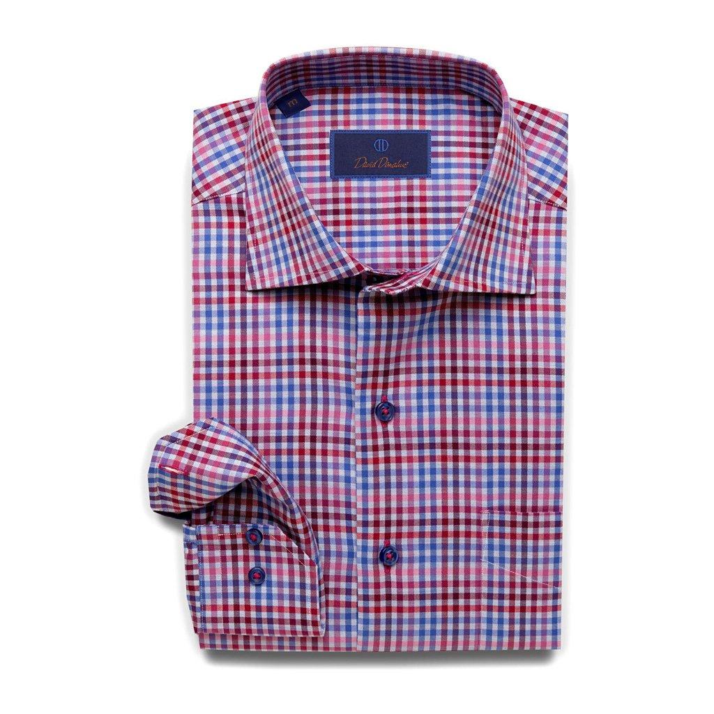David Donahue Super Fine Twill Barrel Cuff Sport Shirt Medium Berry