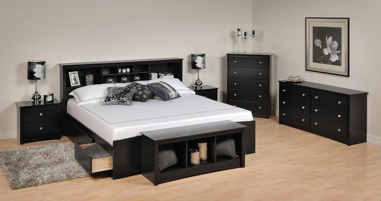 8bbee35af7 Amazon.com: Sonoma Platform Storage Bedroom Set King/6 Piece/Black: Kitchen  & Dining
