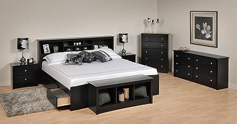 Amazon.com: Sonoma Platform Storage Bedroom Set King/6 Piece/Black ...