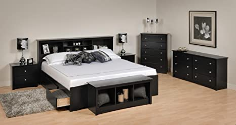 Sonoma Platform Storage Bedroom Set King/6 Piece/Black
