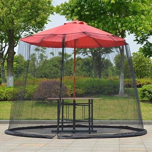 ZHAS Parasoles de jardín Sombrilla portátil Mosquitera, Parasol de jardín al Aire Libre Mosquitera Cubierta de Red para Insectos para Patio Mesa Sombrilla Jardín 275 * 230 cm (Color: Negro): Amazon.es: Hogar