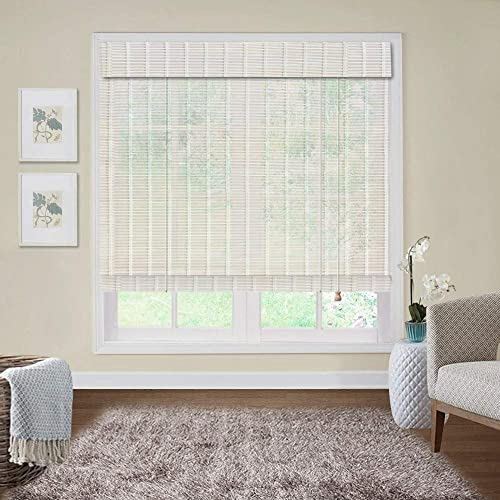 Outdoor Bamboo Window Shades Blinds, Waterproof Wood Roller Shades 6 Inches Valance, Light Filtering Sun Shades Window Blinds for Patio, Doors, Porch, Balcony,Gazebo,Pergola,Deck, Color 8-Outdoor