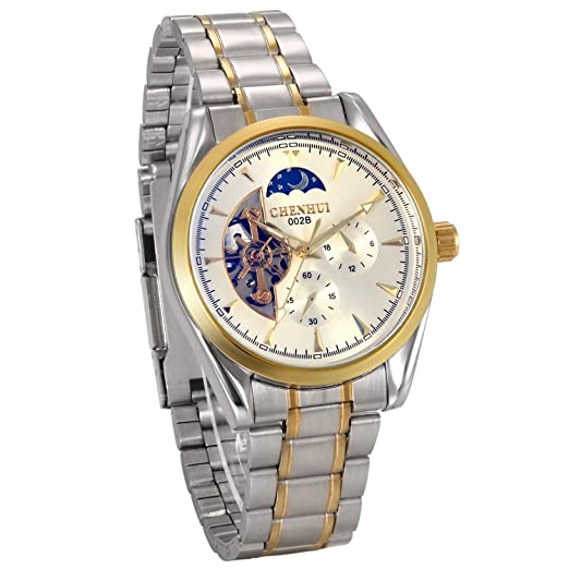 2bdd20d08e12 JewelryWe Reloj Mecánico Automático Acero Inoxidable Dorado Reloj Hueco  Transparente Para Caballero 2 Subesferas Decorativas