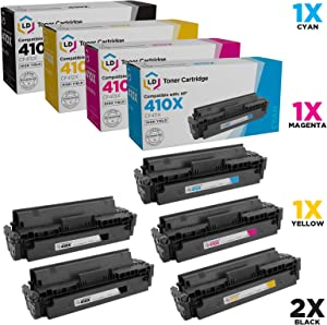 LD Compatible Toner Cartridge Replacement for HP 410X High Yield (2 Black, 1 Cyan, 1 Magenta, 1 Yellow, 5-Pack)
