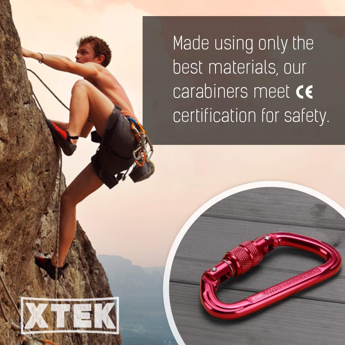 xtek climbing Mosquetón de Aluminio de 23 kN para Escalada – 23 kN / 5171 LB – UIAA & CE Nominal Gran Escalada de Roca, Seguridad Industrial para Uso ...