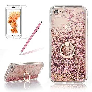 Fundas para iPhone 5/5S/SE,Girlyard Carcasa Plástico Rígido Duro Brillo Brillante Liquida Patrón Arena de Agua Estrella Case Cover Transparente 3D ...