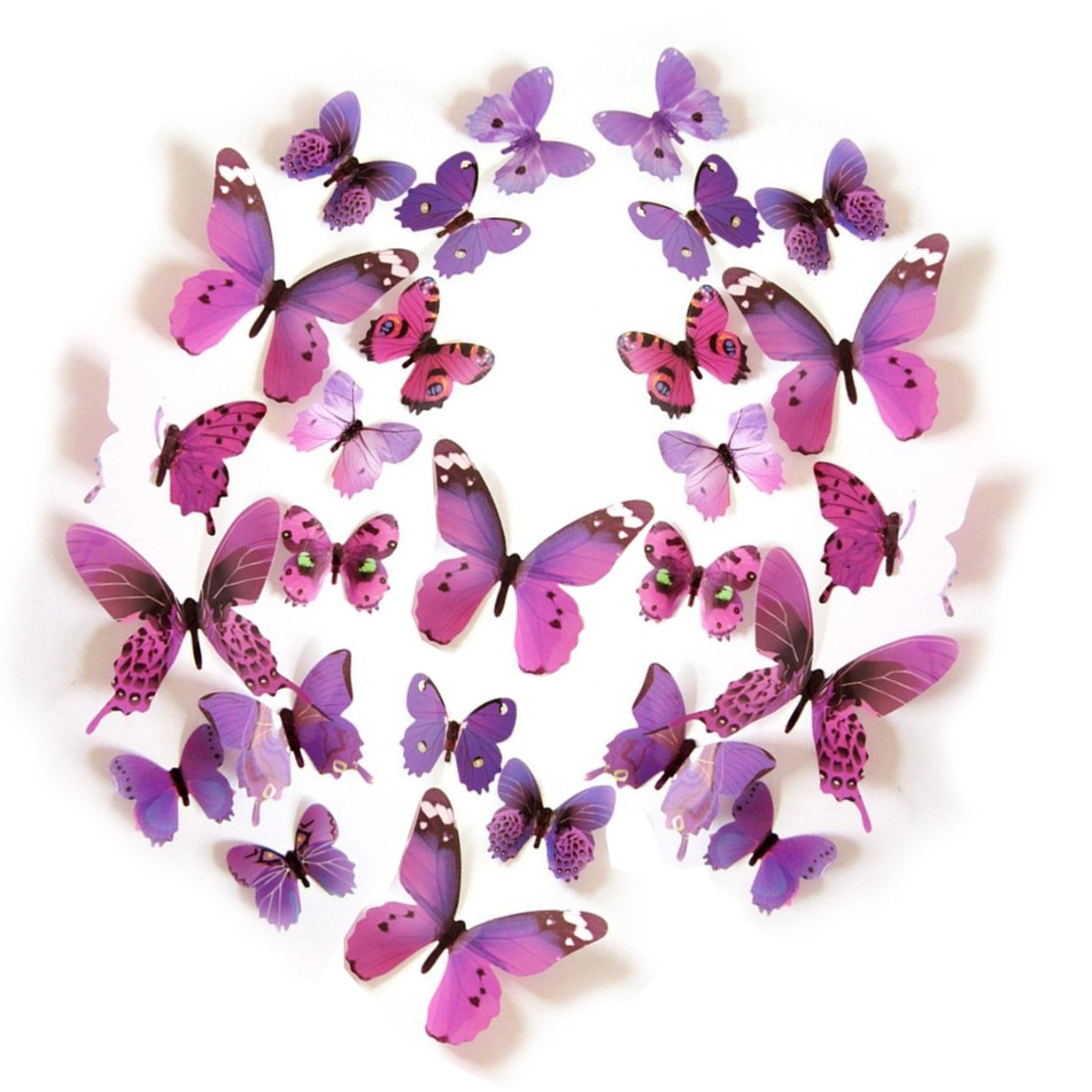 Butterflies Kids' Baby Wall Decals Room Decorations, Hang Indoors 3D Colorful Butterfly Wall Stickers DIY Art Decor Crafts - Set of 2,Pueple,and Pink Euter