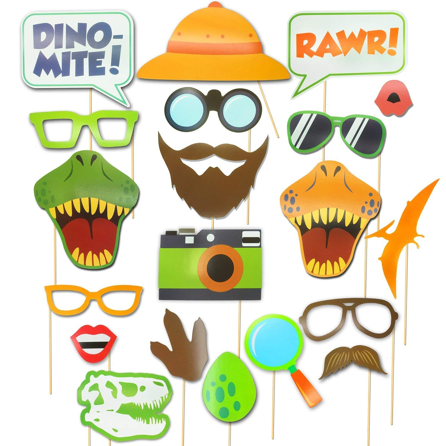 Dinosaur Photo Booth Props - Dino Colorful Photo Booth Props - Dinosaur Party Supplies-Jurassic Dinosaur Jungle Park Photo Props For Kids Birthday