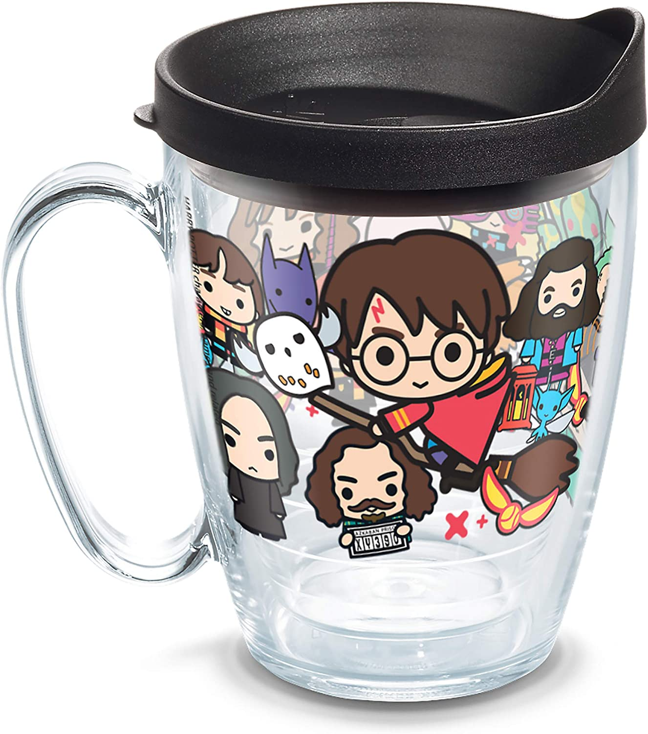 Tervis 1267948 Harry Potter - Group Charms Tumbler with Wrap and Black Lid 16oz Mug, Clear