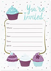 Juvale Cupcake Girl Party Invitations with Envelopes (Set of 24)