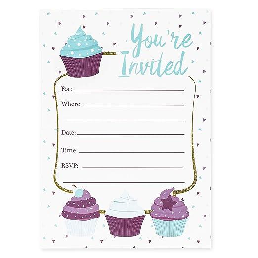 Tarjetas de invitación para cupcakes, 24 invitaciones con ...