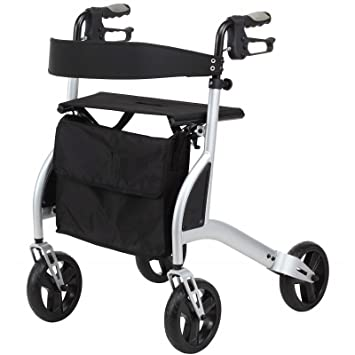 Ultra lightweight folding rollator walking frame with seat, cane ...