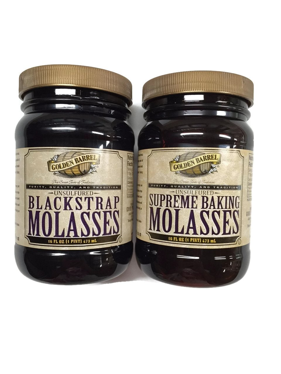 Golden Barrel Blackstrap Molasses & Supreme Baking Molasses, 16 Oz. Wide Mouth Jars [1 of Each]