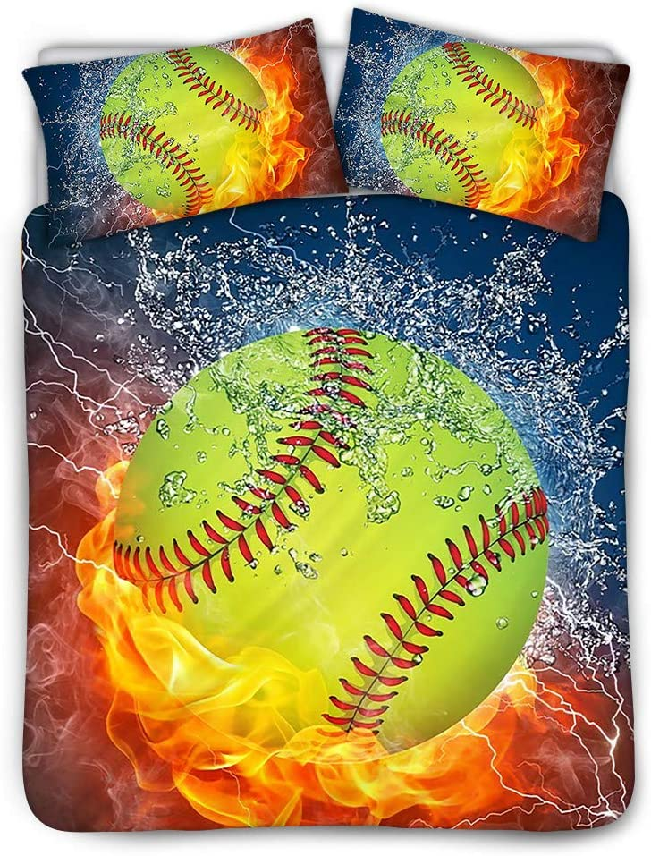 INSTANTARTS Water and Fire Softball Ball Print 3 Piece Cotton Bedding Sets with 1 Duvet Cover 2 Pillow Case Hypoallergenic Bedclothes (Twin, Beige)