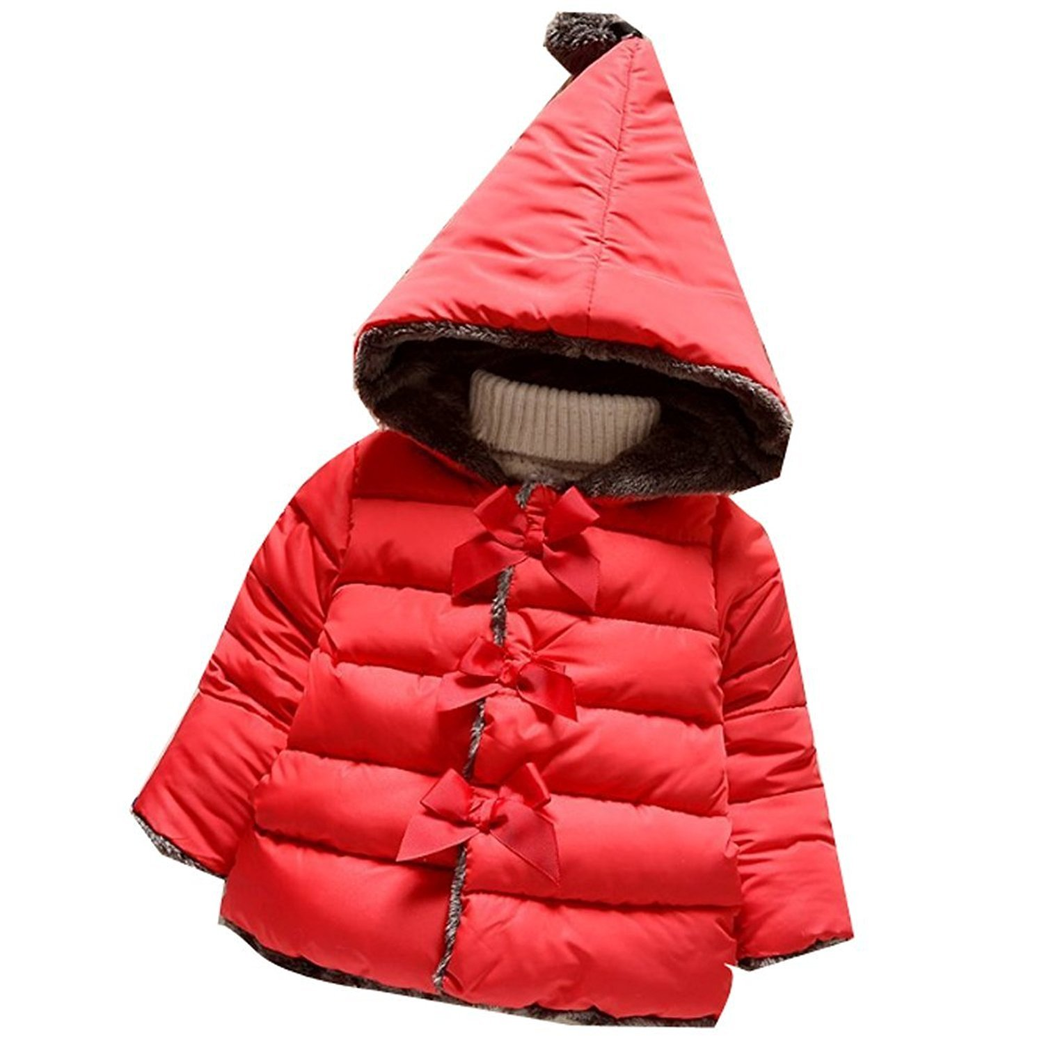 Baby Girls Warm Fleece Hooded Coat Puffer Jacket Outerwear