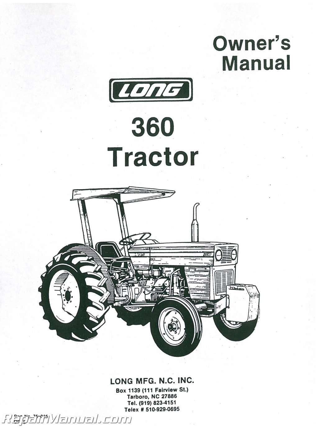 JS-LO-O-360 Long 360 Diesel Tractor Operators Manual: Manufacturer:  Amazon.com: Books