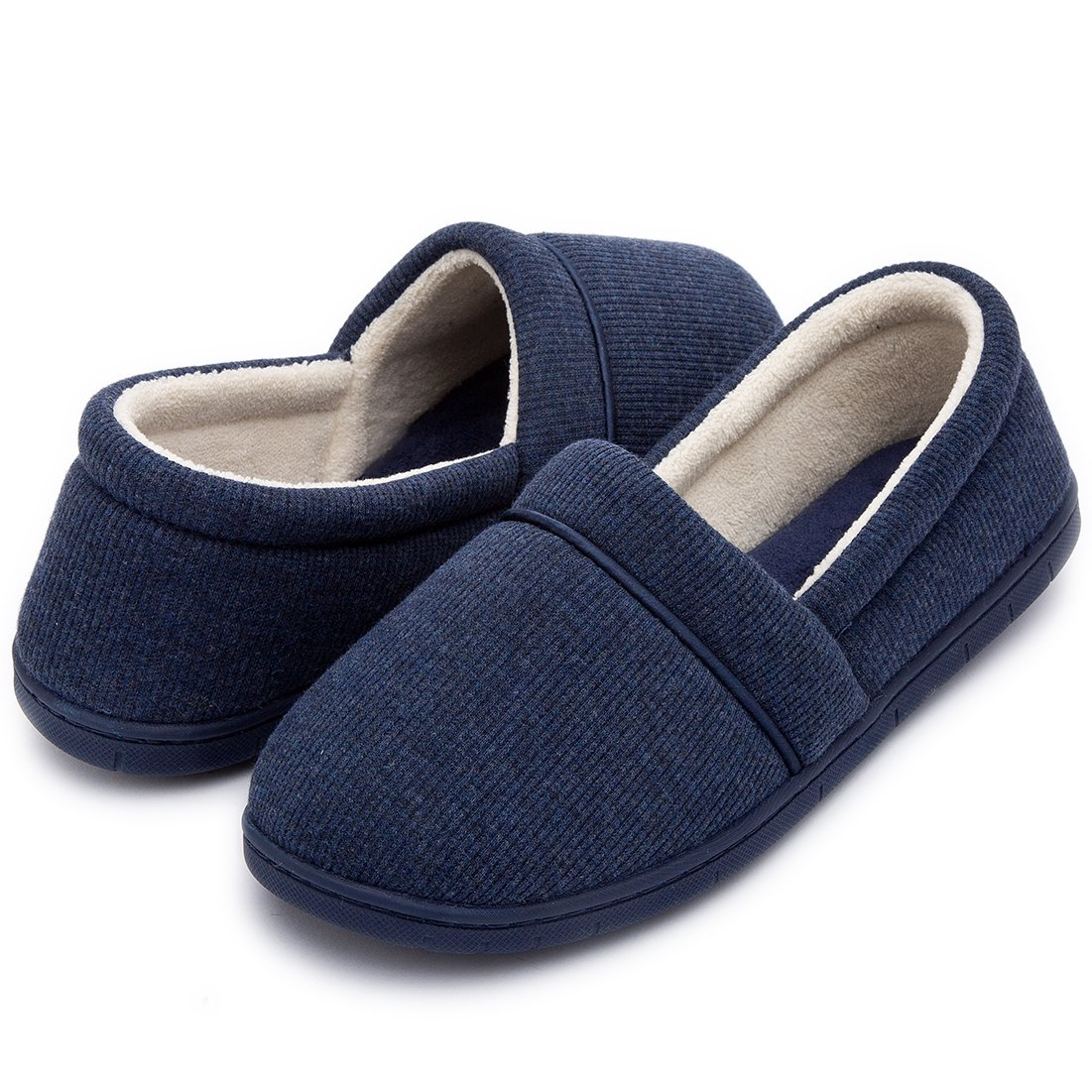 ULTRAIDEAS Women's Velvet Memory Foam Closed Back Slippers Lightweight Anti-Slid Embroidery Ballerina House/Office Shoes (Medium / 7-8 B(M) US, Navy Blue)