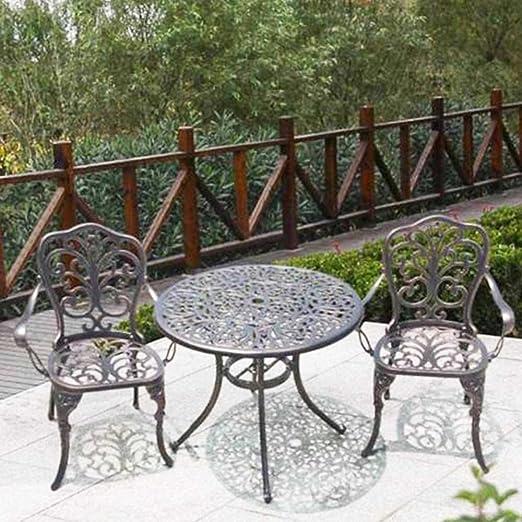 Aluminio Bistro Mesa y sillas jardín balcón terraza jardín de Invierno Muebles Bronce: Amazon.es: Jardín