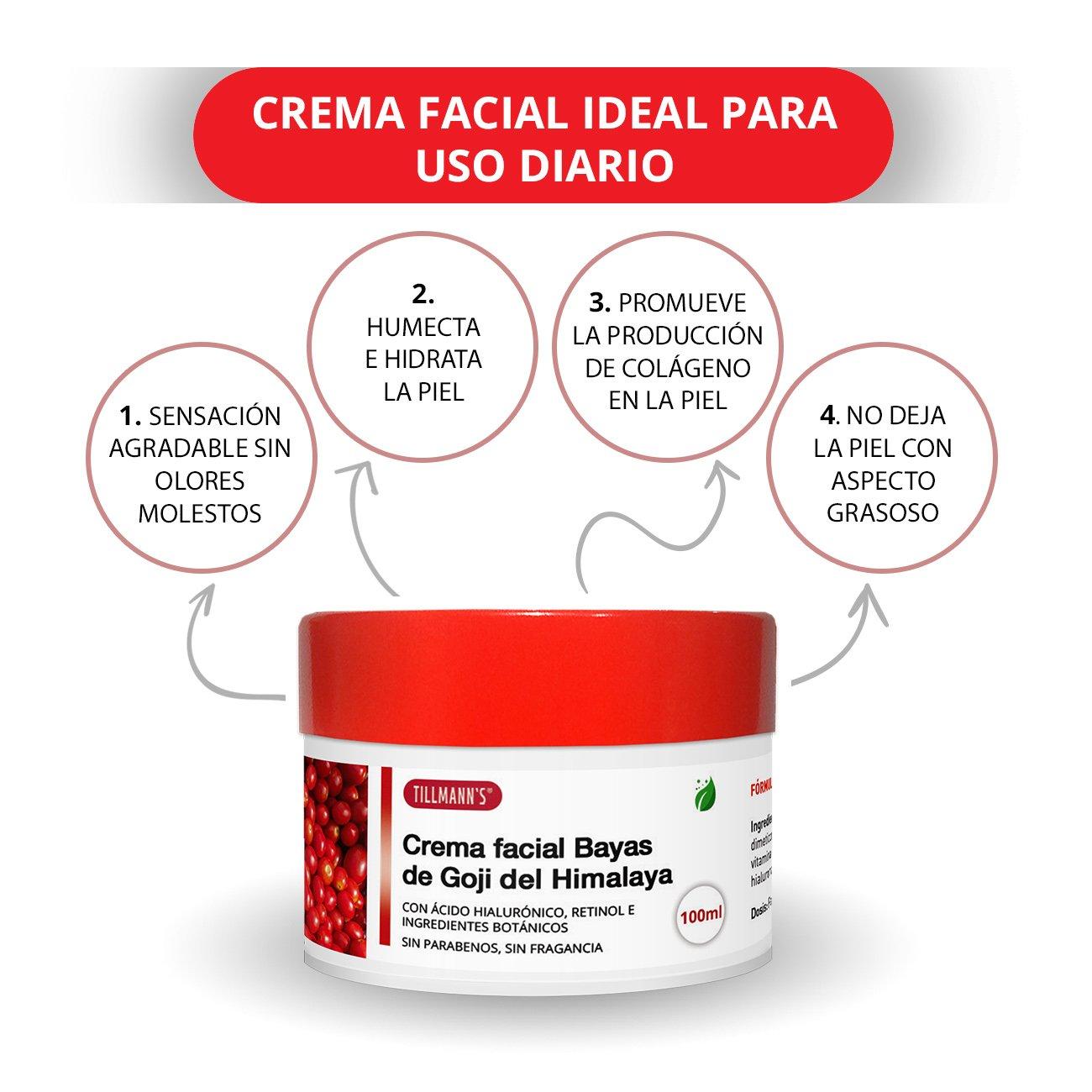 Tillmann\'s Goji Cream 100ml - Crema Hidratante Facial Bayas De Goji - Mascarilla Antiedad Goji Berries Con Acido Hialuronico Y Retinol - Sin Parabenos