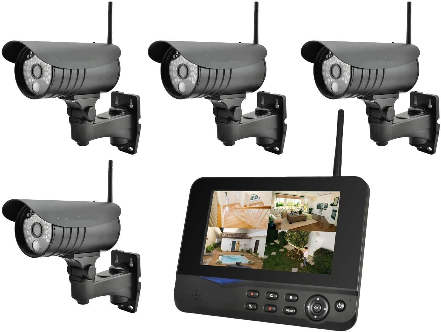 4 cámara BONDWL 15 m de infrarrojos sistema de circuito cerrado de televisión inalámbrico Digital con pantalla LCD Monitor y sensor de movimiento