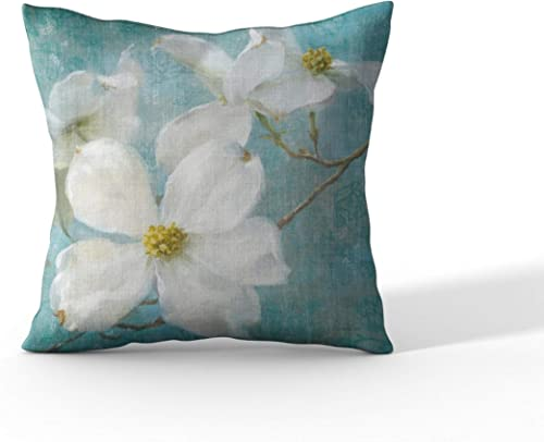 Cortesi Home Indiness Blossom by Danhui NAI Decorative Soft Velvet Square Accent Throw Pillow with Insert, 18 x 18 , Blue