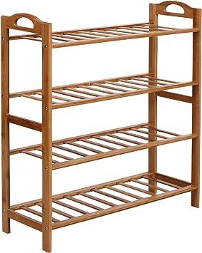 Songmics Bamboo Shoe Rack Shelf Storage Organizer For Hallway Bathroom Garden 4 Tier Fresh Maple Furniture Decor