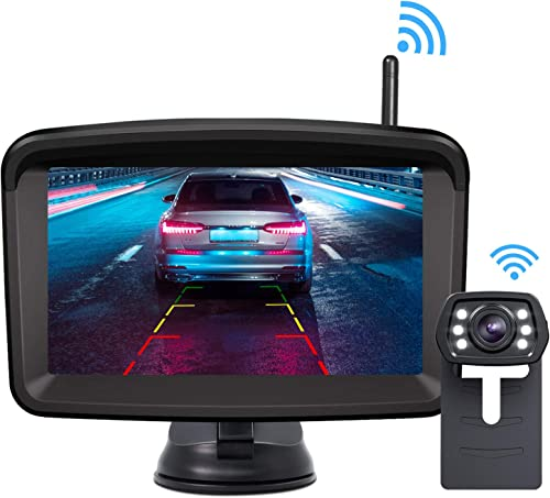 Xroose Wireless Backup Camera and Monitor Kit 5 HD Screen License Plate Camera with Frame IP69K Waterproof Rear View Camera with Parking Lines 152 Viewing Angle