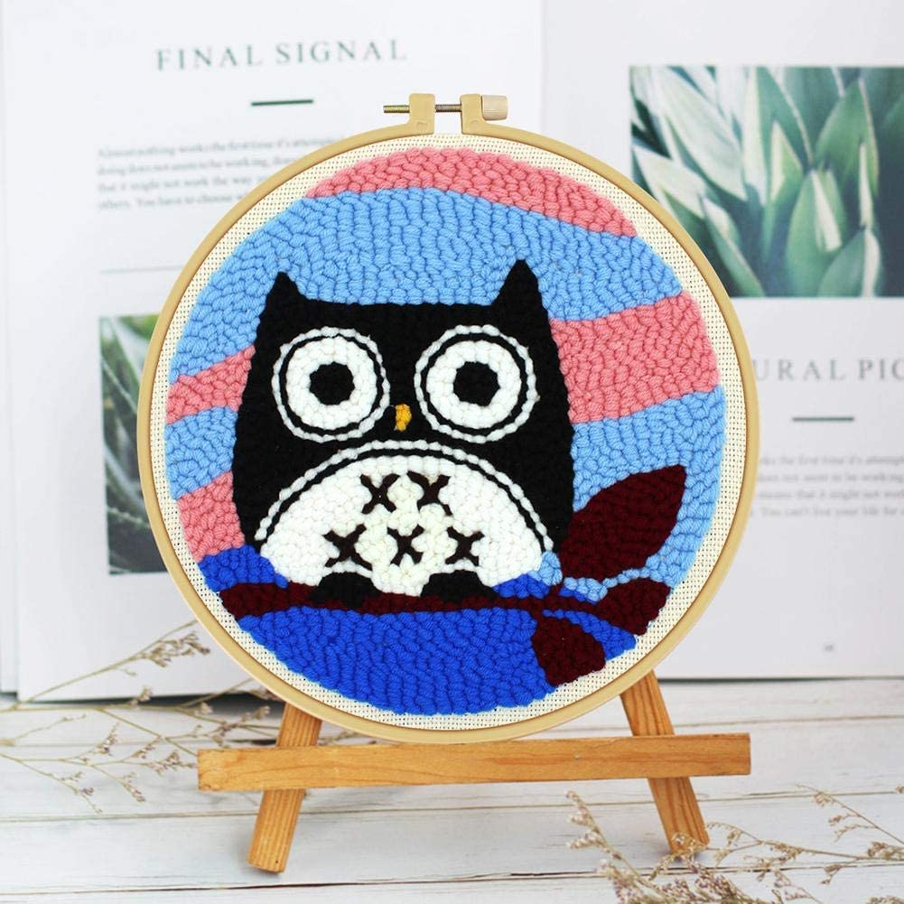 Alloyseed Cartoon Owl Rug Hooking Kit,DIY Handcraft Punch Needle Starter Kit Latch Hook Kit Embroidery Needlework Kit with Tools,Embroidery Frame,Craft Gift Wall Home Decor