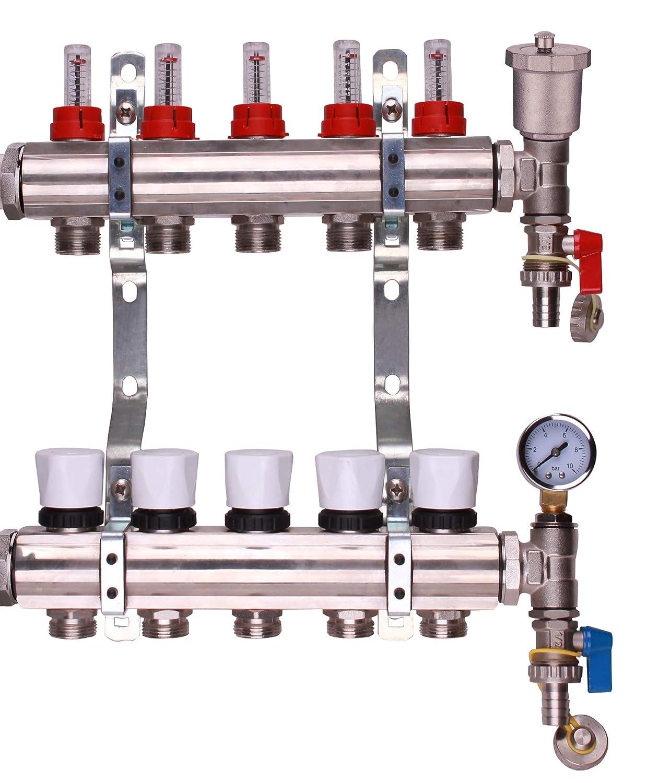 2 a 12 puertos Colectores de calefacci/ón para suelo radiante de acero inoxidable