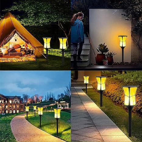CHUSHENG Luz De Llama Solar, 3 Formas De Instalar Control De Luz Inteligente 3 Tipos De Modo De Iluminación Jardín Exterior Decoración Paisaje Luces LED: Amazon.es: Deportes y aire libre