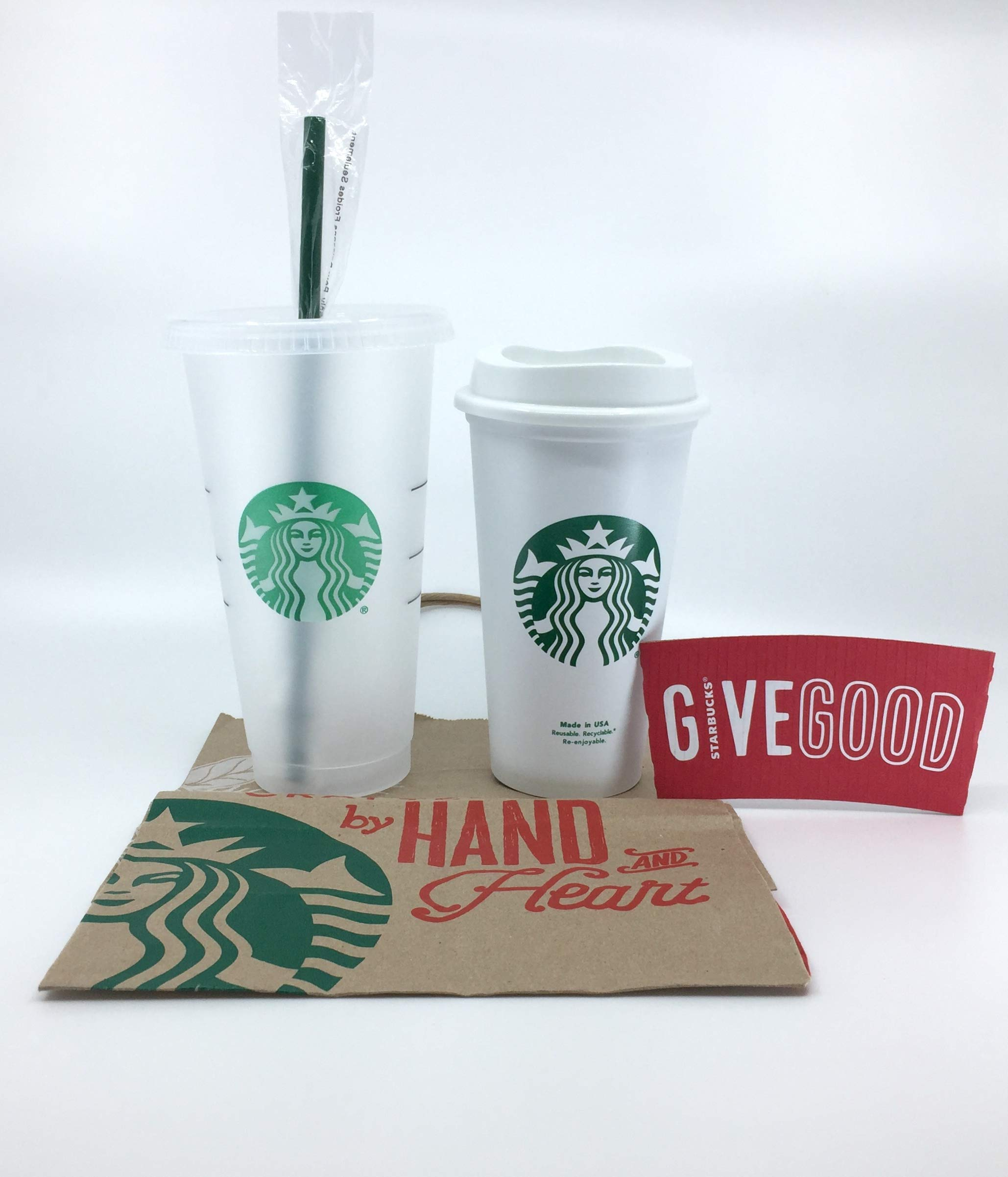 Starbucks Reusable Hard Plastic Venti 24 fl oz Frosted Ice COLD Drink Cup With Lid and Green Straw w/Stopper Limited Edition 2018 and Classic Siren Grande Cup for HOT and COLD Drinks Gift Bundle
