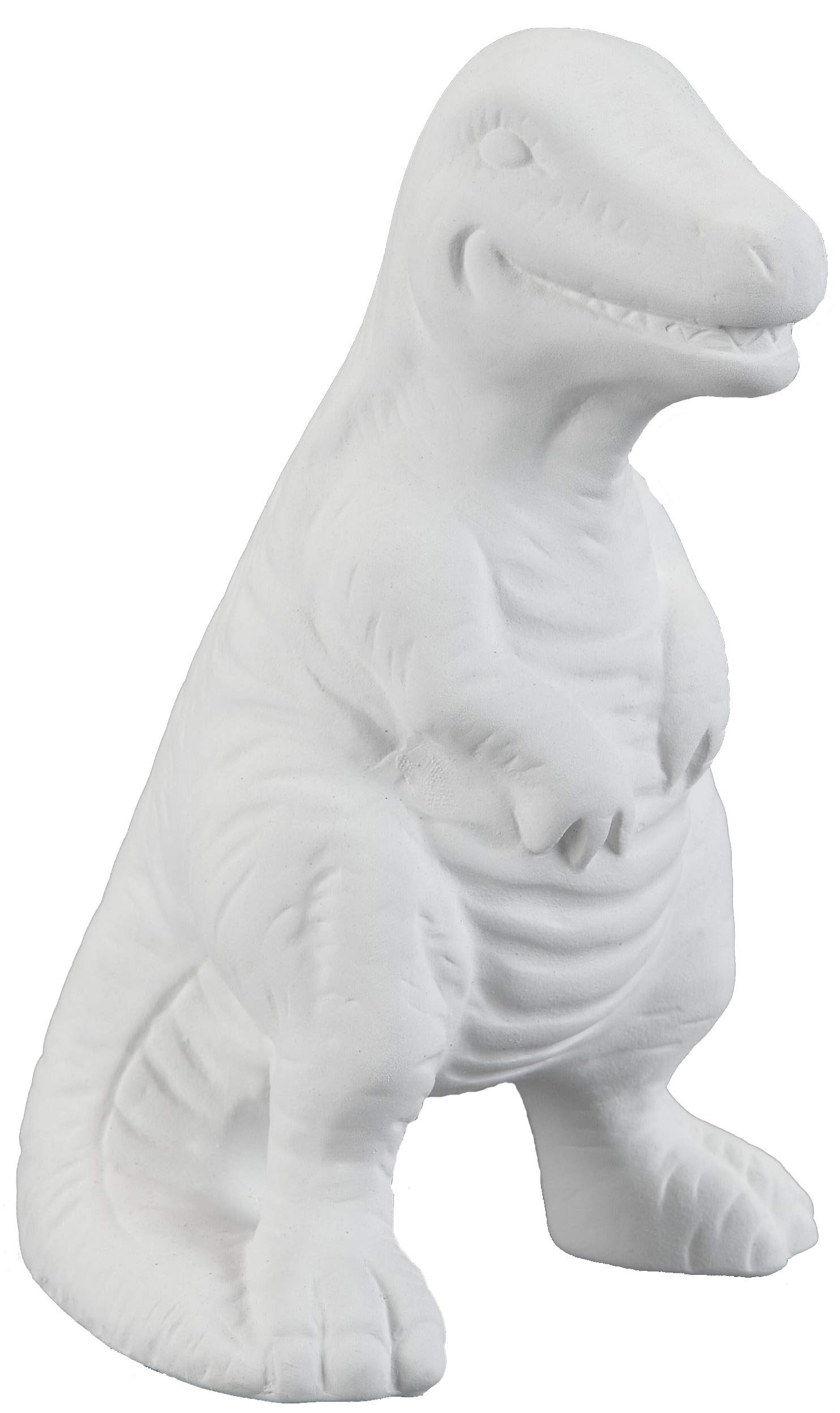 Creative Hobbies T-Rex Dinosaur, 5.5 Inch High, Case of 12, Unfinished Ceramic Bisque, with How to Paint Your Own Pottery Booklet