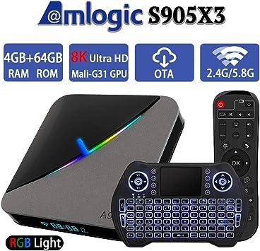 Android TV Box 9.0 4 GB 64 GB Smart TV Box Amlogic S905X3 con retroiluminado inalámbrico