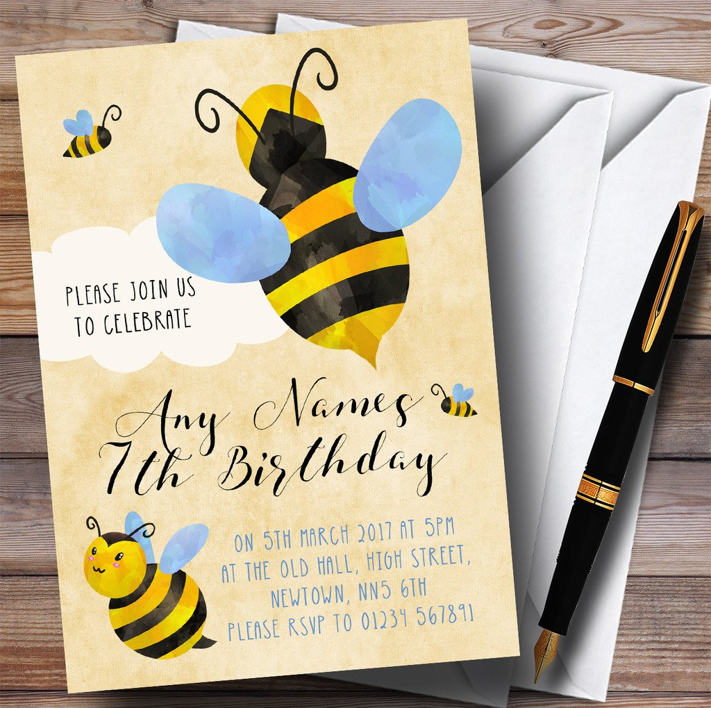 Boys Bumble Bee Cloud Childrens Birthday Party Invitations