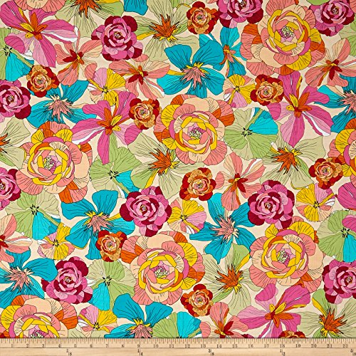 Quilting Treasures 0566159 Ink & Arrow June Bee Thalia Large Floral Cream Fabric by The Yard
